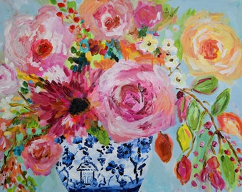 """Large Still Life, Blue and White Ginger Jar Painting, Colorful expressionistic flowers by Carolyn Shultz  24"""" x 30"""""""