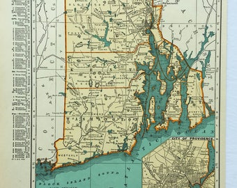 1940s Original Vintage Map Rhode Island 14x11 Rand McNally Americana Wall Decor Art Craft Supplies