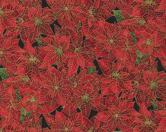 Christmas Fabric/Red Poinsettias/Metallic Gold/Timeless Treasures/Cotton Material/Quilting, Clothing/Fat Quarter, Half, By the Yard, Yardage