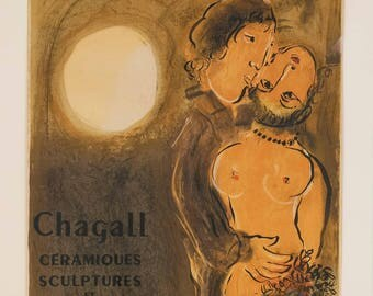 """Chagall 16 """"Ceramiques et sculptures et les fables""""  printed 1959 Mourlot Art in posters"""