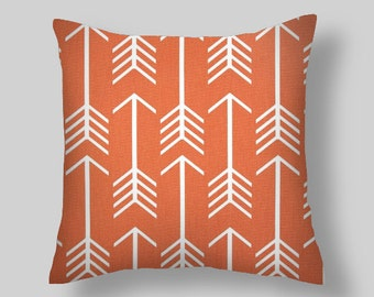 Orange  PILLOW COVERS, Arrows Pillow, Orange Pillows, Decorator Pillow  Beach Decor, Cushion. All Sizes  Euro Home Decor Orange Throw Pillow