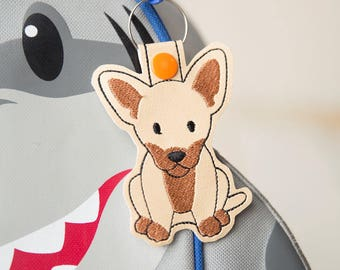Chihuahua Embroidered Vinyl Keychain, Dog Keychain, Christmas Gift, Stocking Stuffer, Dog Lover, Keyfob, Chihuahua Lover, Chihuahua Dogs