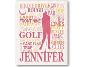 Women's Golf Typography Art Print, Perfect Room Art, Choose Any Colors, Great Gift for Any Golfer