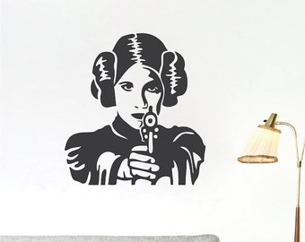 Princess Leia Wall Decal, Star Wars Wall Decals, Star Wars Wall Mural, Princess Leia Wall Vinyl, Removable Star Wars Wall Vinyl Decal, g83