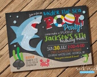Shark Pool Party Invitation, Under the Sea, Swim Party, Ocean Pool Party, Shark Party, Printable Birthday Party Invitation