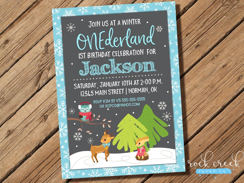 Winter Onederland Birthday Invitation, First Birthday Invitation ...