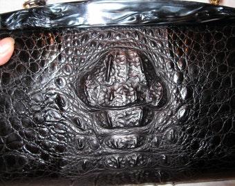 Vintage Crocodile Handbag with Black Pearlized Lucite Trim