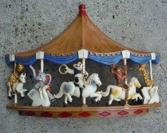 Vintage 70s Homco 3-D Carousel Circus Animals Hard Plastic Wall Hanging