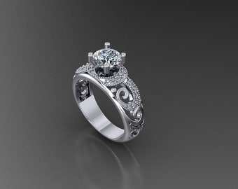 "Women's engagement ring 14k white gold ""Sparkle Swirl"" with 1 carat White Sapphire Round Brilliant center 0.33 ctw"