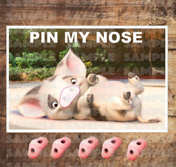 MOANA PARTY GAME Pua Pin My Nose 11x17 Inches And 18x24 New Size
