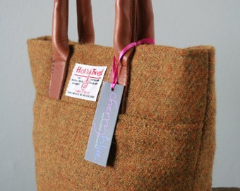 Harris Tweed small tote with floral lining