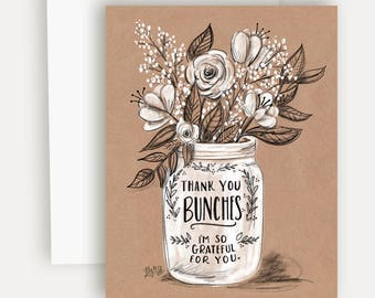 Thank You Bunches - A2 Note Card - Chalkboard Art - Thank You Card - Kraft Paper - Flower Bouquet - Illustration by Valerie McKeehan