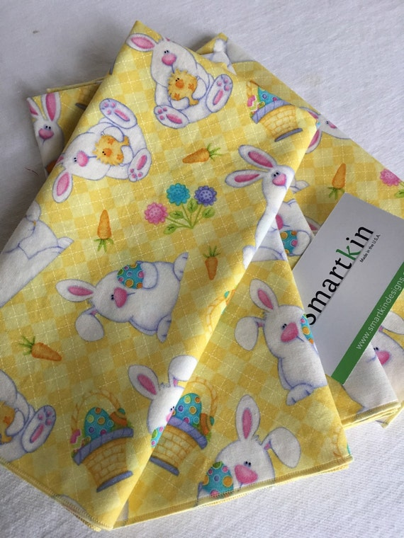 Easter Napkin Yellow and White Bunny All Cotton Cloth 18x18 Dinner Napkin by Smartkin