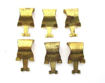 Eastlake  picture rail hanging hooks antique 1990s brass set of 6