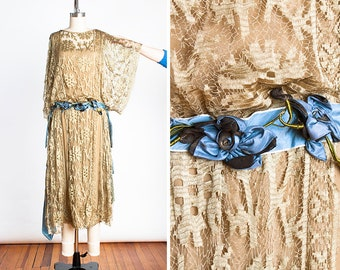 MUSEUM QUALITY 1920s Erlebacher Designer Gold Chantilly Lace and Silk Evening Dress with Blue Silk & Black and Gold Lame' Ribbon Accents