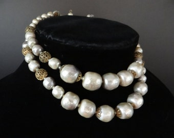 Ivory Vintage Faux Pearl Necklace with Textured Pearl and Gold Filigree Beads - Ivory Faux Pearl Necklace - Vintage Costume Jewelry