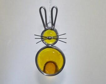 Stained Glass Bunny Rabbit Ornament, Yellow Bunny Suncatcher