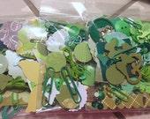 Ephemera 100+ Peice Paper/Embellishment Pack Found Paper Junk Journal Mixed Media Kit in Green
