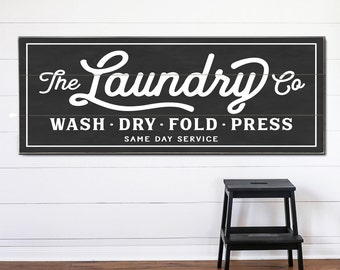 Laundry Co Personalized Sign Canvas Or Wood Planked Wash Dry Fold Vintage Room