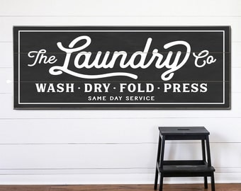 Laundry Co Personalized Sign, Canvas or Wood, Wash Dry Fold Vintage Room Est Established Decor Farmhouse Rustic Design Company