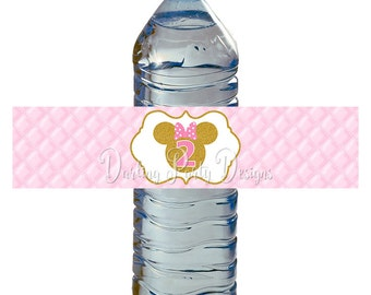 Pink and Gold Minnie Mouse Water Bottle Labels, Minnie Water Bottle Wrappers, 2nd Birthday Party, Pink and Gold Glitter, INSTANT DOWNLOAD