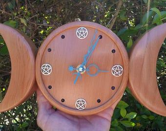 Pentacle Triple Moon Wall Clock made from Cedar with Amethyst Crystals, Goddess Triple Moon, Pagan Clock, Wiccan Clock, Pentacle Moon Clock