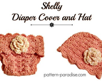 Crochet Pattern, Diaper Cover Soaker and Beanie Hat, PDF 12-106 INSTANT DOWNLOAD