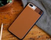 Wood iPhone 7 plus Case, iPhone 7 plus Leather Case, Wood/Leather iPhone 7 plus Case - LTR-TN-I7P