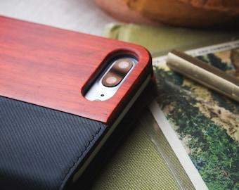 iPhone 7 Plus Case Wallet, Wallet iPhone 7 Plus Card Case, Rosewood - FOL-RB-7P