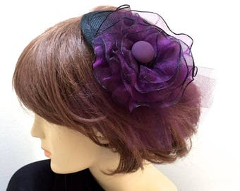 Purple Fascinator, Purple Flower Hat, Black and Purple Small Hat, Purple Bridesmaid Hat