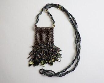 Vintage Beaded Boho Necklace Stash Bag