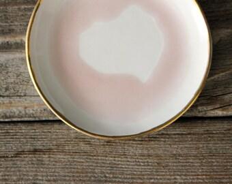 Ceramic Organic Handcrafted Blush Pink Swirled Jewelry/Ring Dish With 18k Gold Rim
