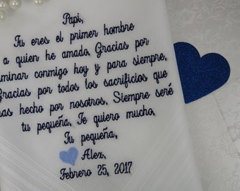 Embroidered Wedding Handkerchief For Father Of The Bride. Wedding Gift