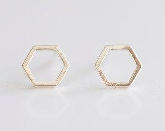 Sterling Silver 8mm Hexagon Stud Earrings - 925 silver hexagon geometrical simple modern minimalist everyday earrings, ready to wear jewelry
