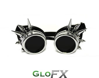GloFX Chrome Spike Steampunk Padded Goggles Rave Welding Cyber Punk Goth Dieselpunk Glasses