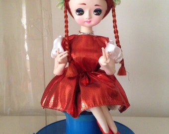 SALE- Vintage Japanese Pose Doll, Music box, classical pigtail girl (35cm)