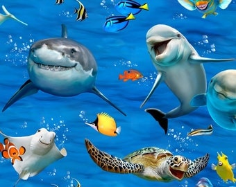 Ocean Selfies - Elizabeth Studios - Smiling Sharks, Dolphins, Sea Turtles, Stingrays, Fish - Ocean Fabric - Sealife - Animal Fabric