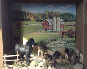 Miniature Farm Shadow Box