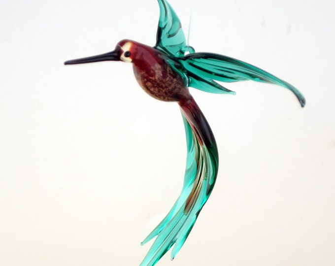 e36-224 Aventurine Hummingbird Red Teal