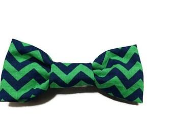 Green Blue Chevron Dog bow tie, chevron bow tie, chevron tie, green bow tie, green tie, blue tie, navy blue tie