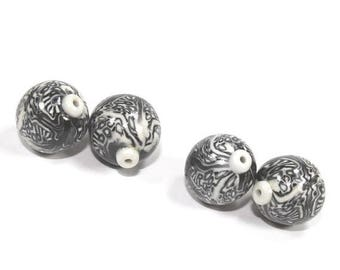 SPRING SALE Polymer Clay  round beads in Black, White and Greys. Unique pattern, Set of 4