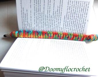 Bookmarks bookmark rainbow pencil, multicolor cotton crochet pencil, book accessories, reading