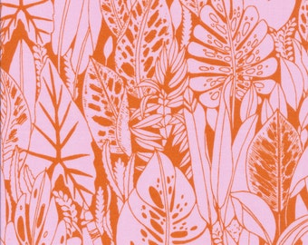 Foliage by Sarah Watson Bird's Eye View Cloud 9 Fabrics  OE 100 Certified Organic Cotton Orange Pink Fabric Palm Leaves Leaf Fabric