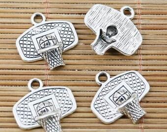 20pcs tibetan silver plated basketball and the hoop charms EF2380