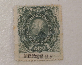 1878 Mexico Documentary Revenue Tax Stamp, 1 Centavo, 19th Century Stamp