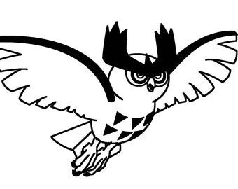 Pokemon Noctowl - Anime Decal for Cars, Windows, Wall, Macbooks, Laptop, iPad, iPhone, Nintendo 3ds, XBox, Playstation etc