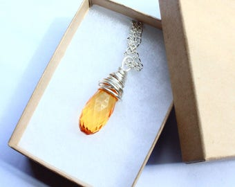 Wire Wrapped Necklace Silver Filled With Amber Colour Bead