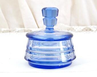 Vintage Czech Blue Glass Art Deco Style Lidded Powder Pot / Bonbonniere, Bohemian Glass Jar, Azur Decor, Eastern European, Czechoslovakia