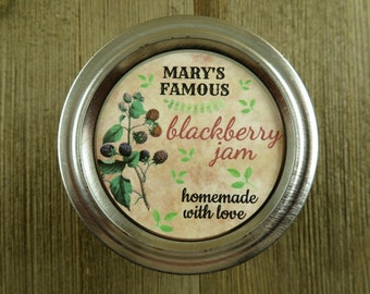 Personalized Canning - Vintage Blackberry Design - 20 4 Oz  Mason Jars Jars or 12 8 Oz Square Mason Jars With Custom Sticker Labels - vfc