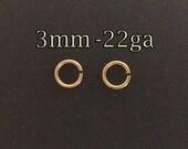 200pcs- Gold filled jump rings 3mm 22ga bulk- yellow gold jumprings 3mmx0.6mm- gold fill jumprings connectors- wholesale jewellery findings